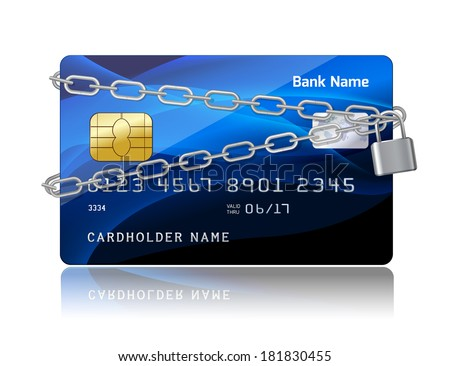 Payment security of credit card with chip protection concept isolated vector illustration - stock vector