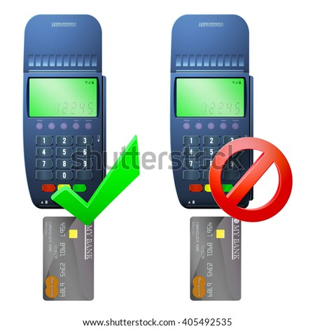 Payment terminal and bank card / Two terminal to pay for goods by card (approved and blocked)