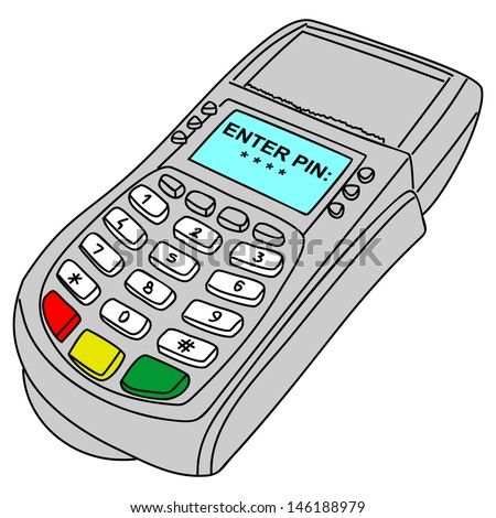 payment terminal, illustration - stock vector
