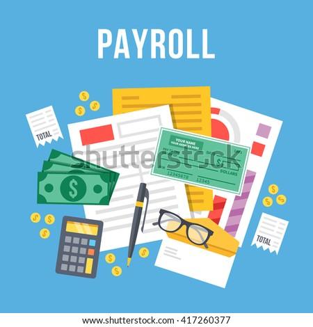 payroll invoice sheet flat illustration payroll stock vector