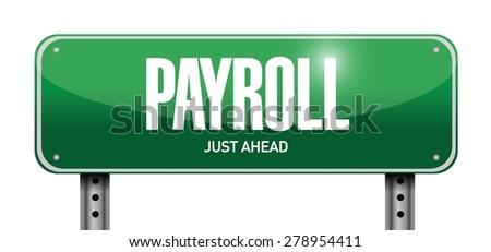 payroll street sign concept illustration design over white - stock vector