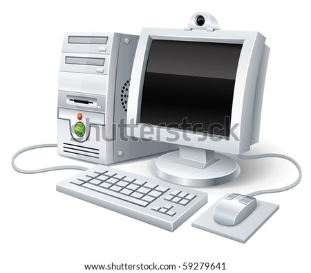 pc computer with monitor keyboard and mouse