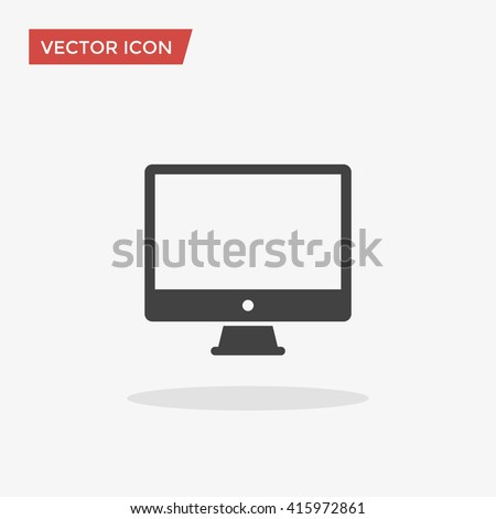 PC Icon in trendy flat style isolated on grey background. Computer symbol for your web site design, logo, app, UI. Vector illustration, EPS10. - stock vector