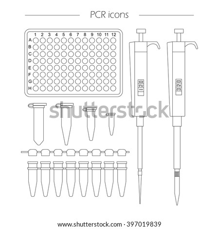 PCR outline icon set of 96 well plate, pipette, eppendorf and strip. Vector lab equipment for pcr, molecular biology research, dna testing, scientific experiments - stock vector