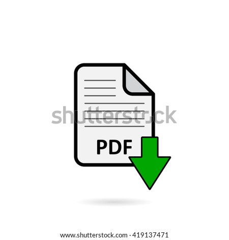 PDF file with green arrow download button on white background vector - stock vector