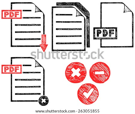 PDF icon. Doodle style - stock vector