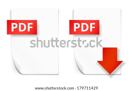 PDF icons, empty paper sheet and download button, vector illustration - stock vector