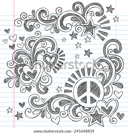Peace and Love Back to School Sketchy Notebook Doodles with Peace Sign, Heart, Shooting Star, and  Swirls- Hand-Drawn Illustration Design Elements on Lined Sketchbook Paper Background - stock vector