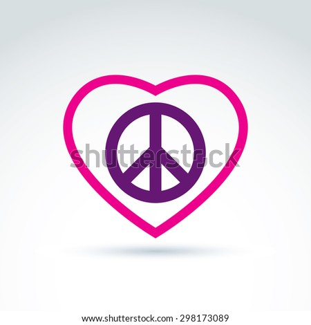 Peace and love theme - antiwar and love vector icons, loving heart sign with peace symbol from 60th. Harmony relationship illustration isolated on white background. - stock vector