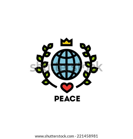 Peace day concept with globe and green leaves - stock vector
