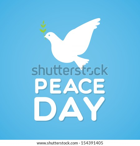 Peace Day with dove and olive branch - stock vector
