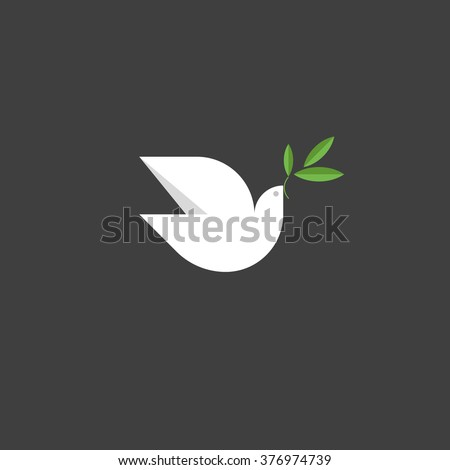 Peace dove with green branch. Flat design style vector illustration - stock vector