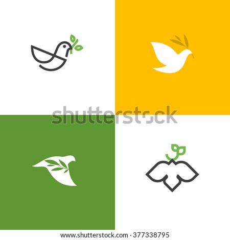 Peace dove with green branch. Flat line design style vector illustrations set of icons and logos - stock vector