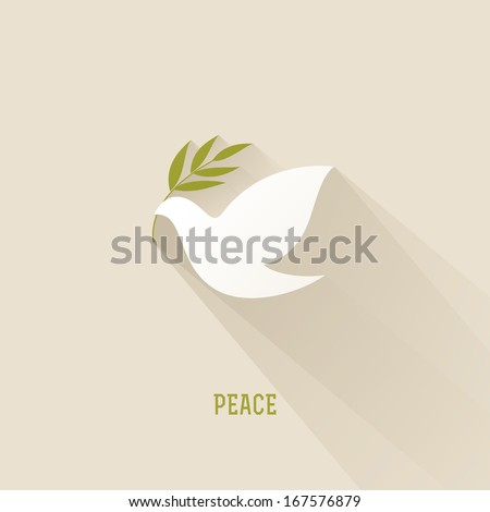 Peace dove with olive branch - stock vector