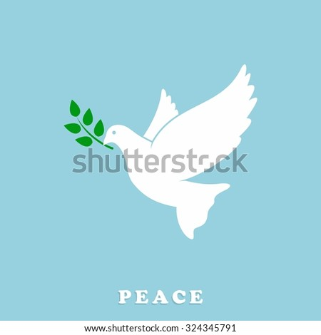 Peace Dove with Olive branch. Vector Illustration - stock vector