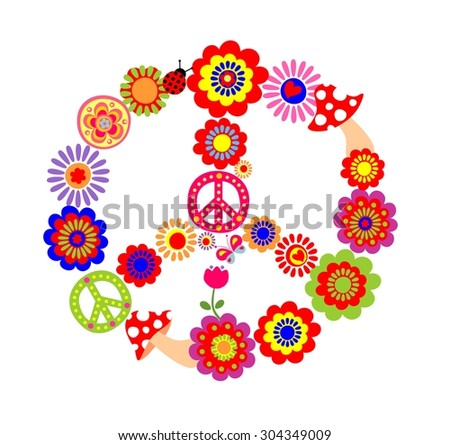 Peace flower symbol with mushrooms - stock vector