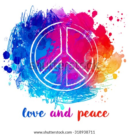 Peace Hippie Symbol over colorful background.  Freedom, spirituality, occultism, textiles art. Vector illustration for t-shirt print over Abstract vector watercolor background.