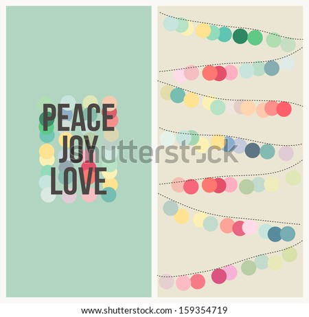 Peace, love, joy. Multicolored design - stock vector