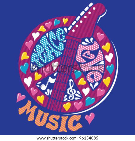 Peace, Love, Music Design (Hand Drawn) - stock vector