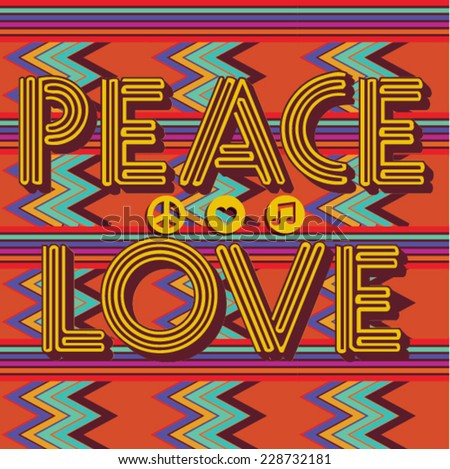 Peace & Love - Retro style. Pixel background. Abstract Background. Vector Pattern of Pixel Geometric Shapes. Vector illustration - stock vector