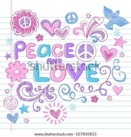Peace & Love Sketchy Notebook Doodles Design Elements on Lined Sketchbook Paper Background- Vector Illustration - stock vector
