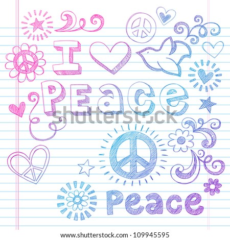 Peace Love Sketchy Notebook Doodles Design Elements on Lined Sketchbook Paper Background- Vector Illustration - stock vector