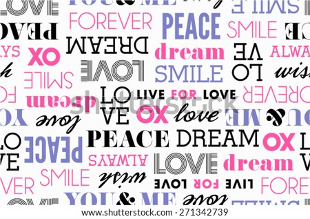 Peace Love Word Stack Seamless - stock vector