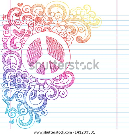 Peace Sign and Love Psychedelic Back to School Sketchy Notebook Doodles- Illustration Design on Lined Sketchbook Paper Background - stock vector