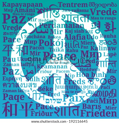 Peace sign consisting of the phrases peace in different for Green in different languages