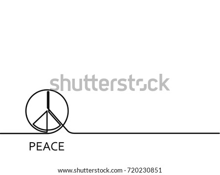 Peace Sign Continuous One Line Drawing Stock Vector 720230851