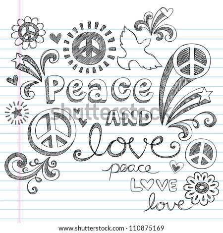 Peace Sign, Dove, and Love Sketchy Notebook Doodles Design Elements on Lined Sketchbook Paper Background- Vector Illustration - stock vector