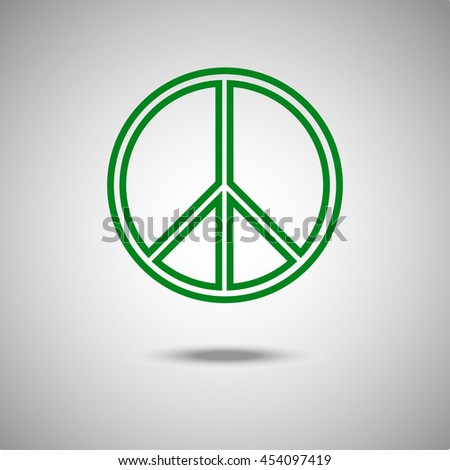 Peace sign icon. Flat style.Grey background. Vector illustration.