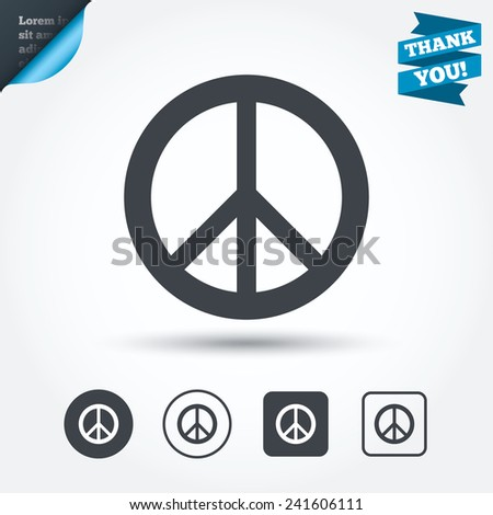Peace Sign Icon Hope Symbol Antiwar Stock Vector 2018 241606111