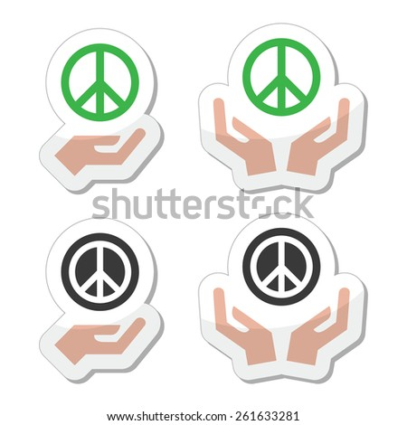 Peace sign with hands icons set - stock vector