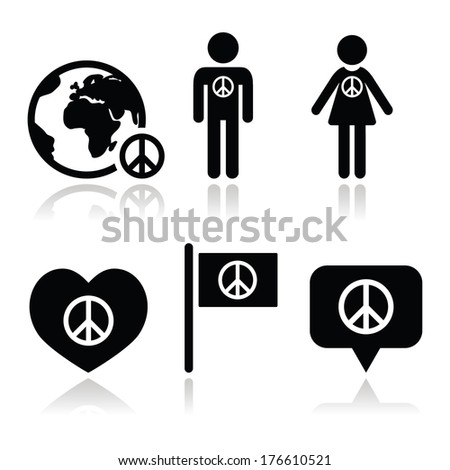 Peace sign with people and globe icons set - stock vector