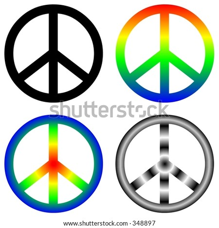 Peace signs, four variations - stock vector