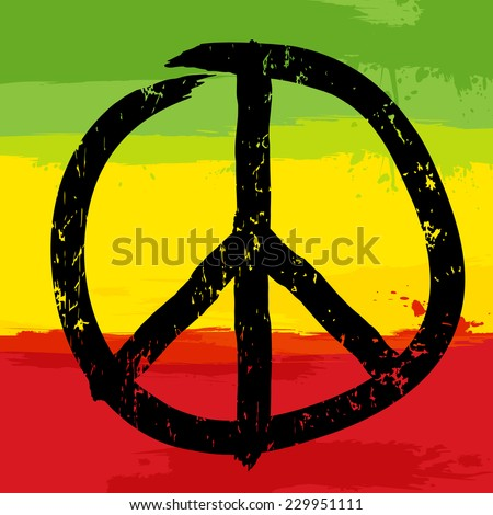 Peace symbol and rastafarian colors in background, vector illustration - stock vector