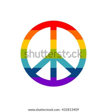 Peace symbol in rainbow colors, vector icon illustration - stock vector