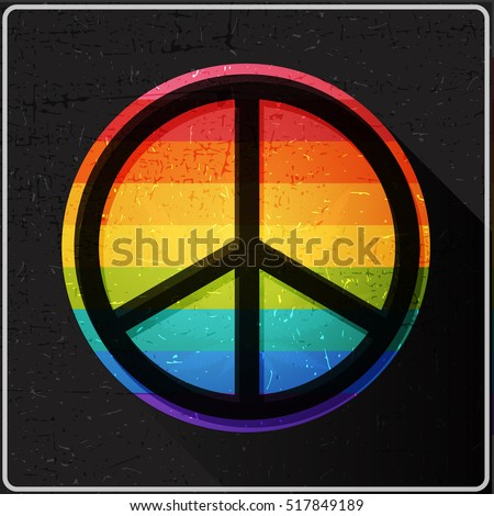 Peace symbol on rainbow flag inside of circle with flat shadow and grunge shapes,, Icon for different use and web design, vector illustration