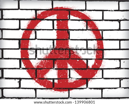 Peace symbol on the brick wall