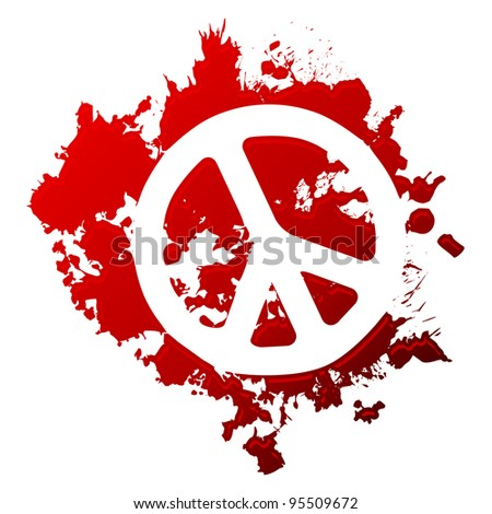 Peace symbol reversed out of a blood spill - stock vector
