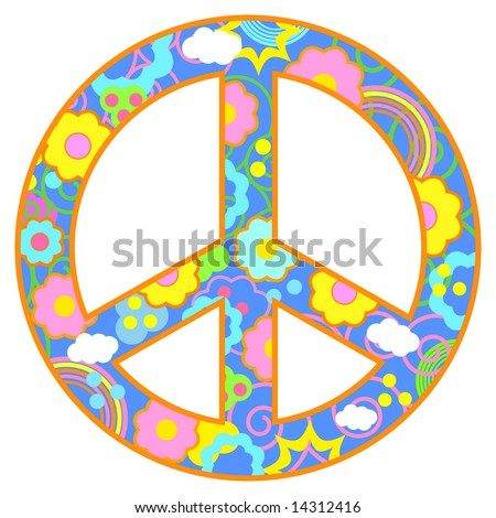 Peace symbol with flowers, clouds, swirls in a happy color theme. Has blue background and orange border.