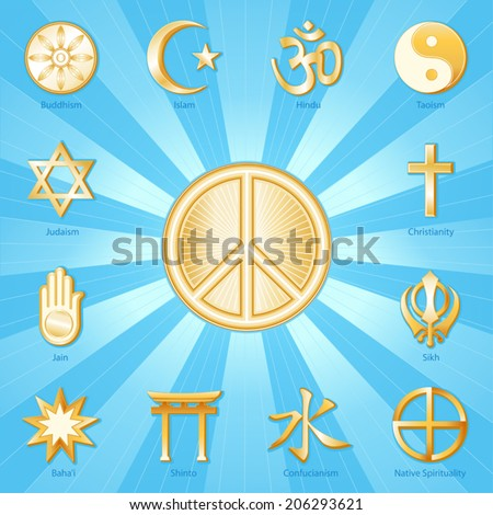 Peace Symbol, world religions icons: Buddhism, Islam, Hindu, Taoism, Christianity, Sikh, Native Spirituality, Confucian, Shinto, Bahai, Jain, Judaism.  Aqua, gold ray background. EPS8 compatible. - stock vector