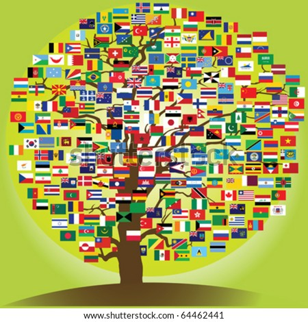 peace tree symbol of the friendship between nations - stock vector