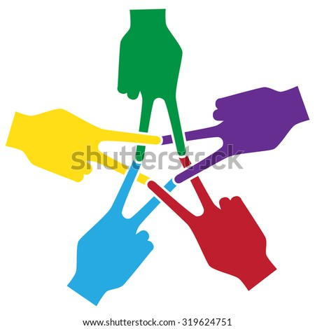 peace,Unity and support symbolic,Hand and finger Actions Mark Forums a pentagram - stock vector