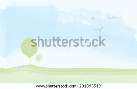 Peaceful landscape summer - watercolor painting illustration - stock vector