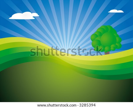 peaceful landscape with lonely tree. - stock vector