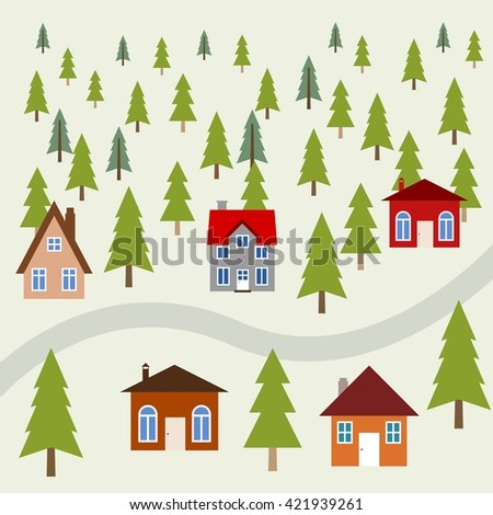 Peaceful mountain town - cute homes in green forest.