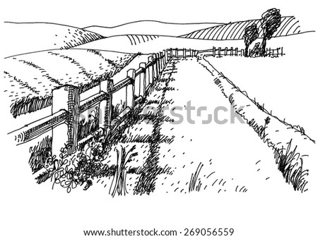 peaceful rural landscape - vector - stock vector