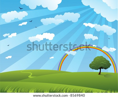 Peaceful summer landscape with rainbow - stock vector